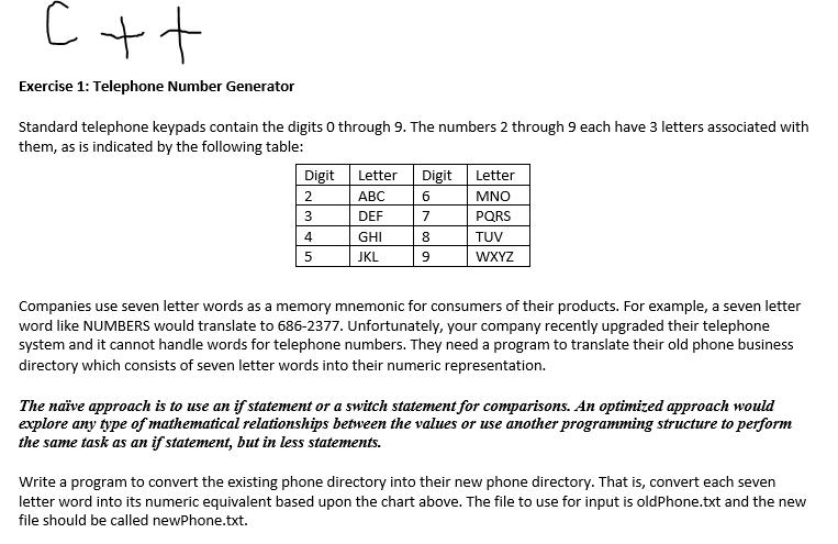 Solved: Exercise 1: Telephone Number Generator Standard Te