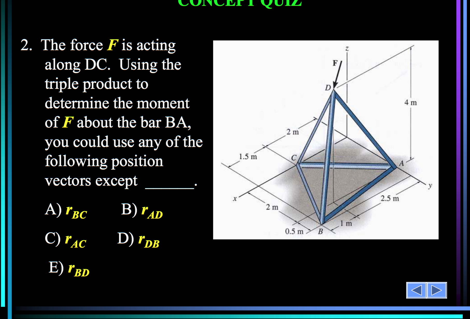 Solved the force f is acting along dc using the triple p using the triple p ccuart Choice Image