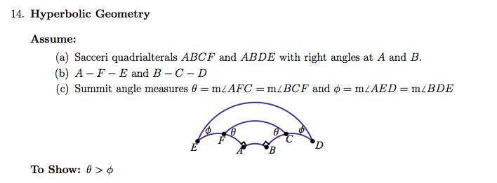 14  Hyperbolic Geometry Assume: (a) Sacceri Quadri    | Chegg com