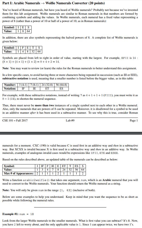 Solved Part 1 Arabic Numerals Wolfie Numerals Converte