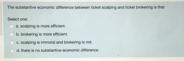 Solved: The Substantive Economic Difference Between Ticket