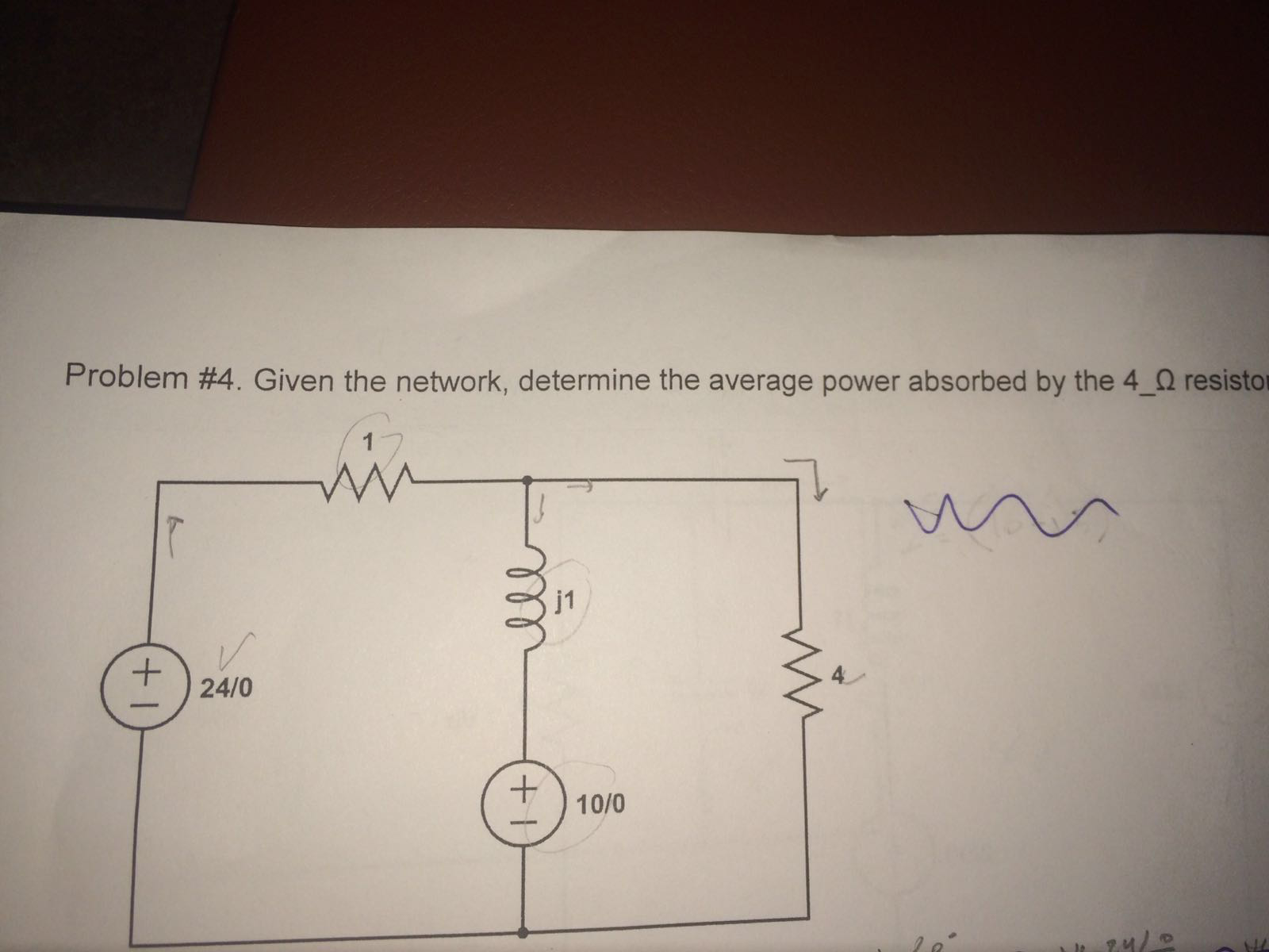 Given the network, determine the average power abs