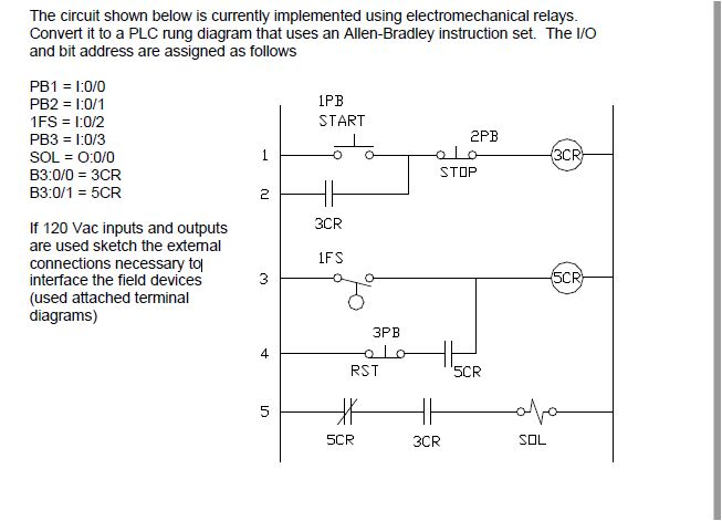 question: the circuit shown below is currently implemented using  electromechanical relays  convert it to a plc rung diagram that uses an  allen-bradley