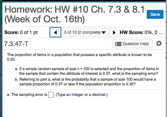 f69b9e4998f Solved  Homework  HW  10 Ch. 7.3   8.1 (Week Of Oct. 16th ...