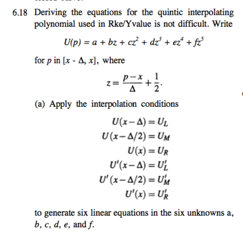 Solved: 6 18 Deriving The Equations For The Quintic Interp