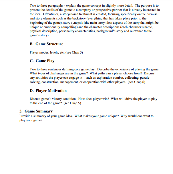 Your Assignment This Week Is The Midterm It Is To Cheggcom - Game concept document