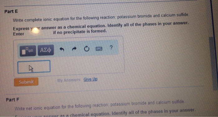 Solved What Is The Ionic Equation For Potassium Bromide A