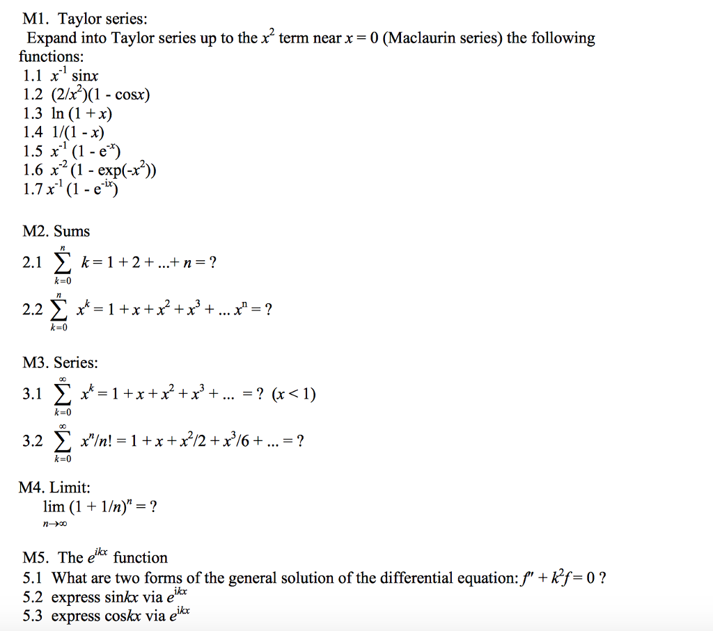 Solved Taylor Series Expand Into Taylor Series Up To The