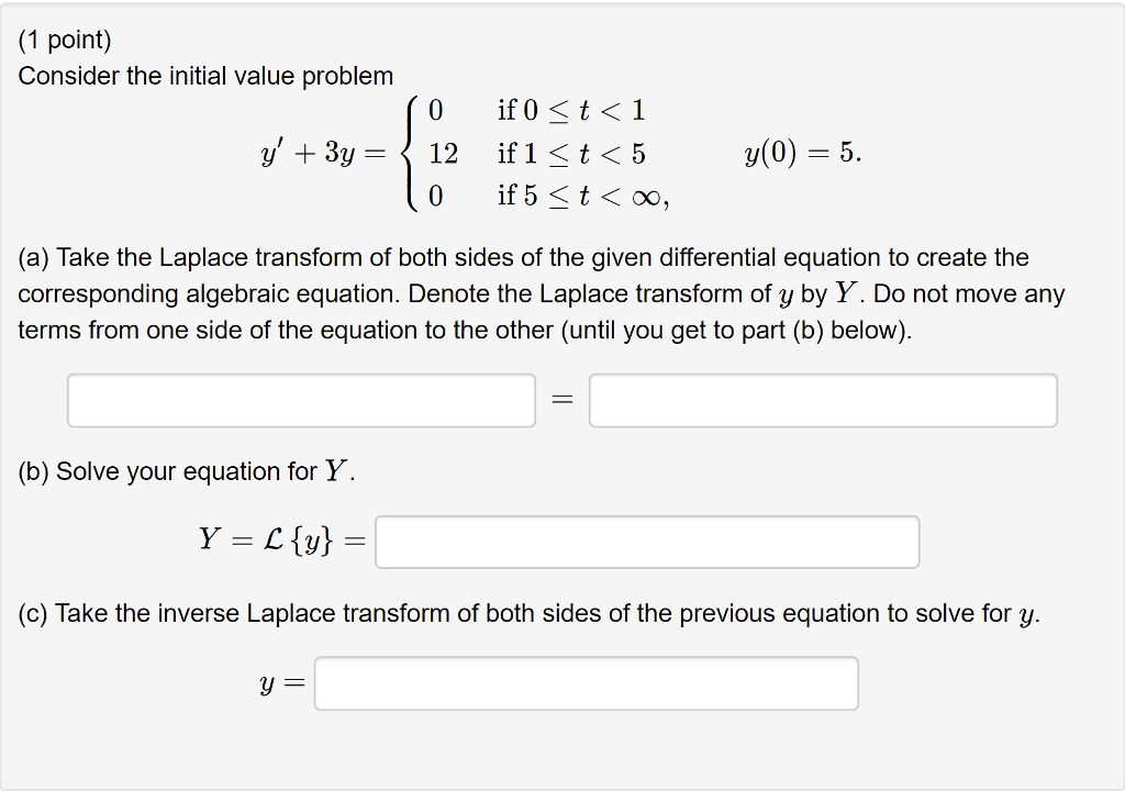 Solved: (1 Point) Consider The Initial Value Problem Y(0