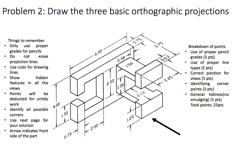 solved draw the three basic orthographic projections thin