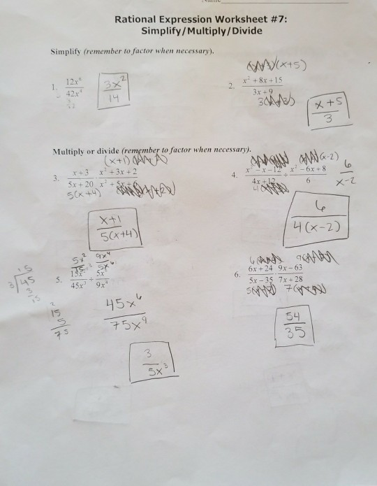 Solved Rational Expression Worksheet 7 Simplifymultipl
