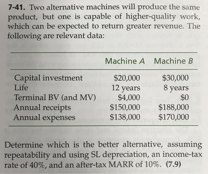 solved two alternative machines will produce the same pro