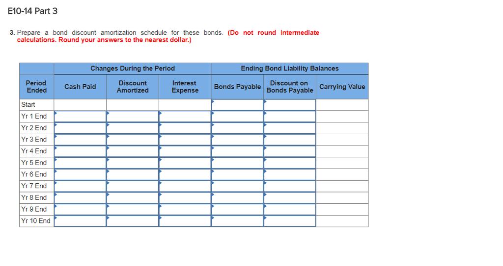 solved e10 14 part 3 3 prepare a bond discount amortizat