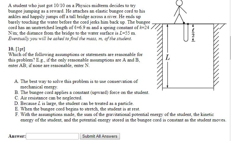 bungee jumping physics problem
