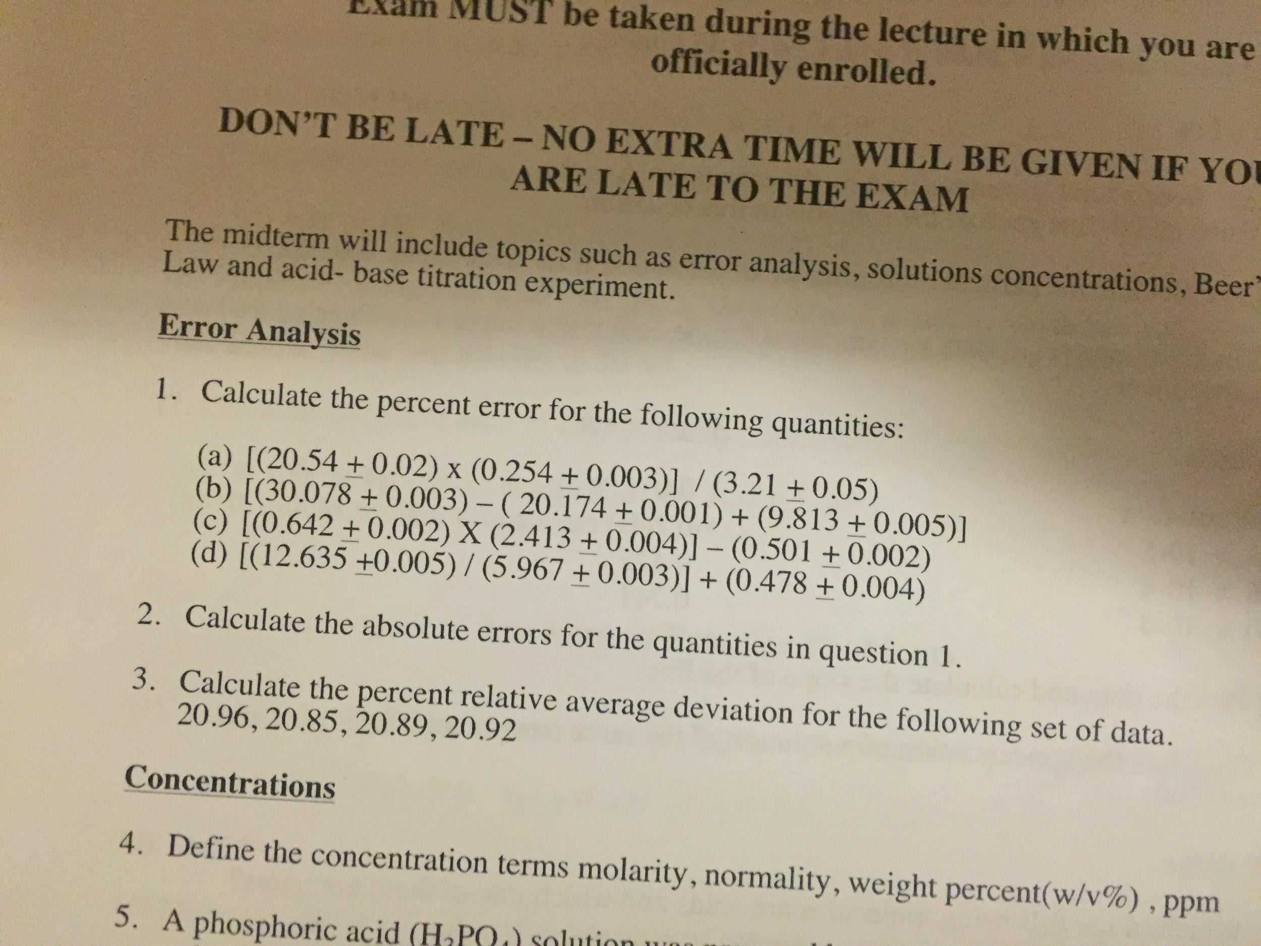 Solved Calculate Percent Error For The Following Quantiti