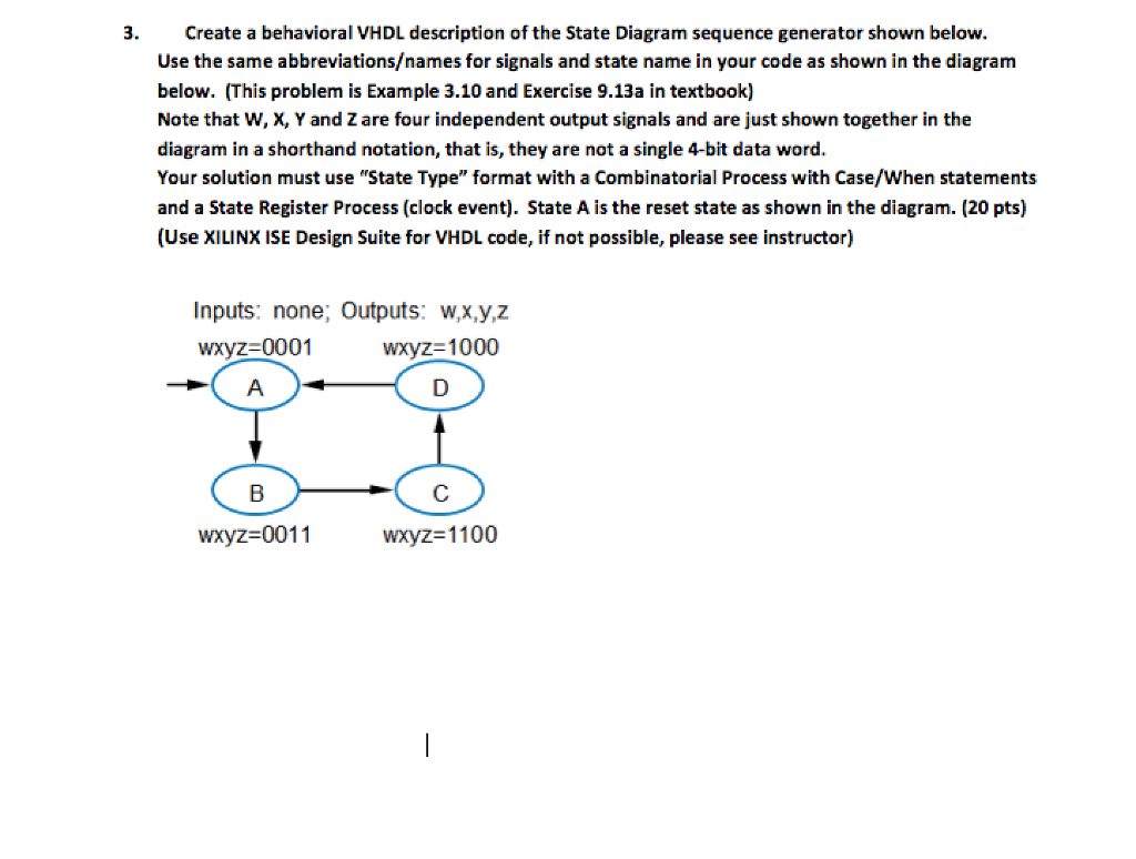Solved 3 Create A Behavioral Vhdl Description Of The Stat Another State Diagram Example Sequence Generator Shown Below Use