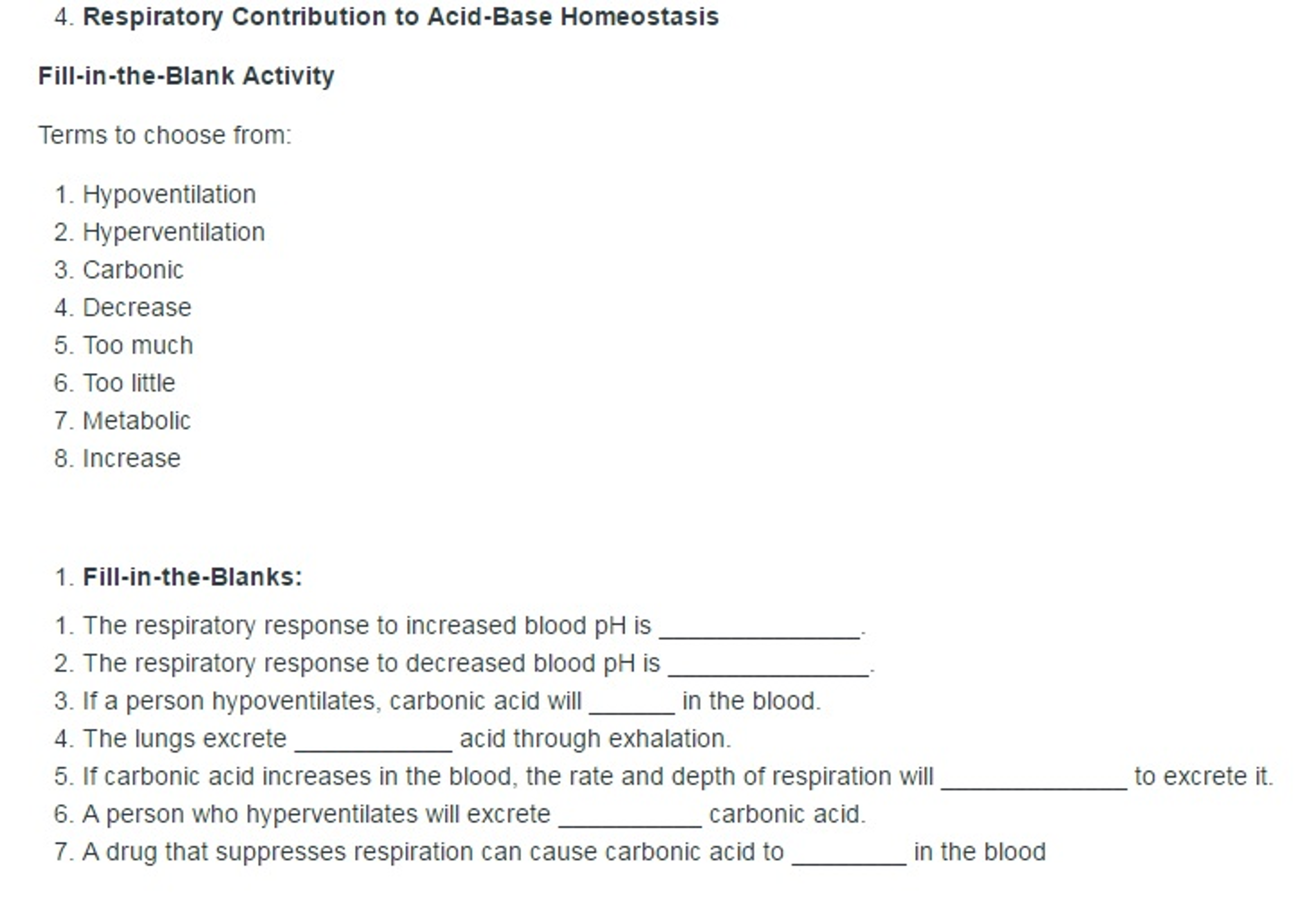 Solved Respiratory Contribution To Acid Base Homeostasis