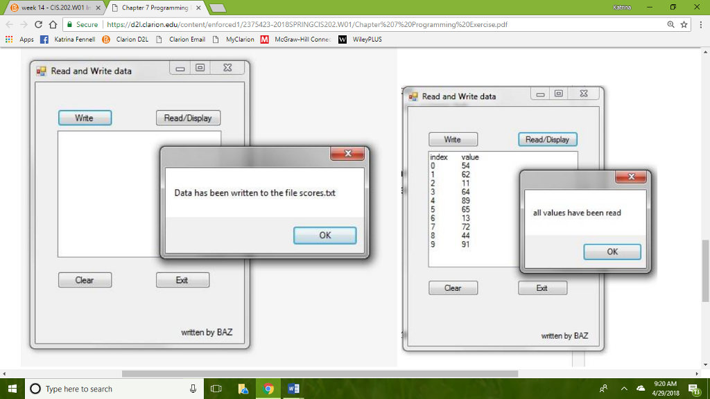 Solved: Create/write The Following Program In Visual Studi