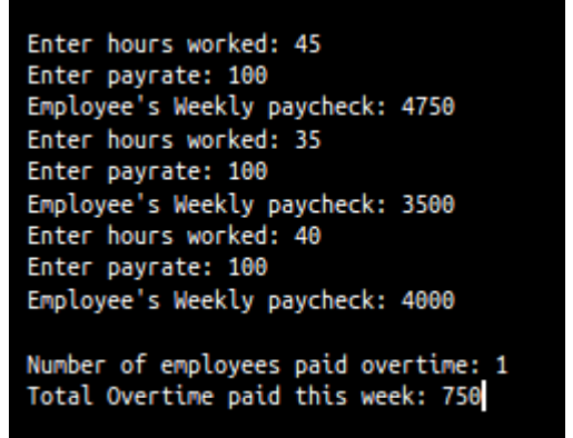 enter hours worked 45 enter payrate 100 enployees weekly paycheck 4750 enter hours