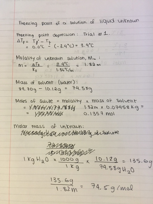 Solved: Molar Mass Determination By Depression Of Freezing ...