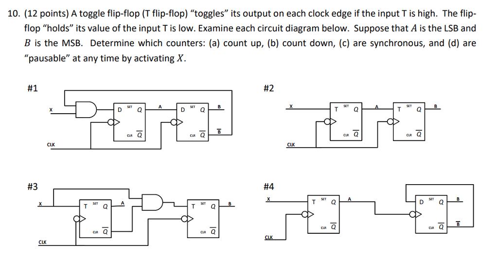 solved 10 12 points a toggle flip flop t flip flop rh chegg com t flip flop logic diagram and truth table Flip Flop Logic Diagram D