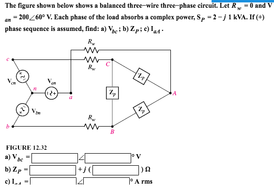 Solved: The Figure Shown Below Shows A Balanced Three-wire ...