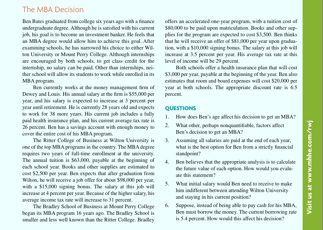 mini case fundamentals of corporate finance Corporate finance case study  the mba decision 1 eco  mini mba program.