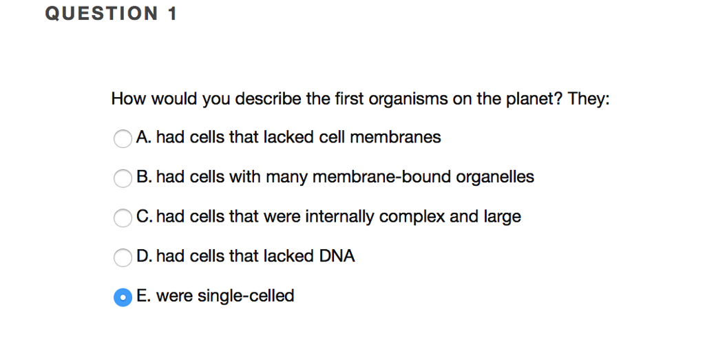 they question 1 how would you describe the first organisms on the planet they a