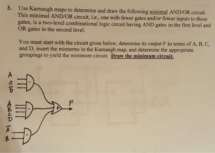 Use Karnaugh maps to determine and draw the follow