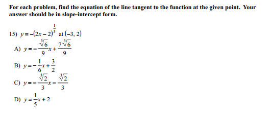 Solved For Each Problem Find The Equation Of The Line Ta
