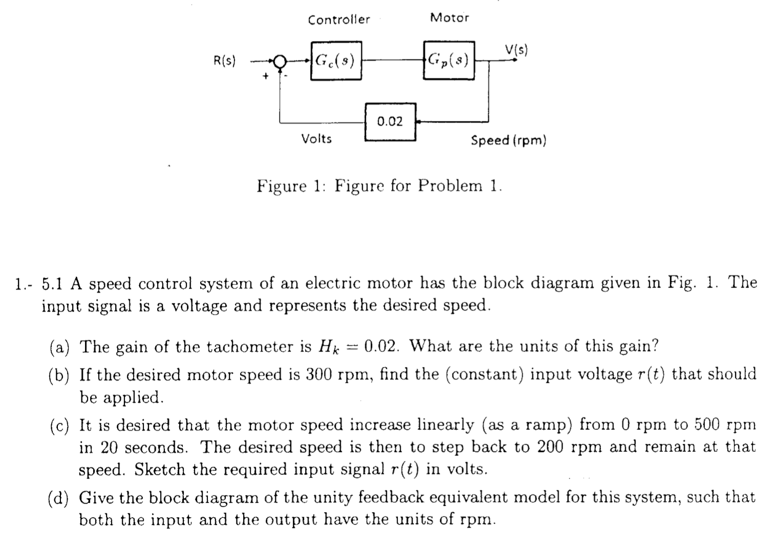 Solved A Speed Control System Of An Electric Motor Has Th To Do Electrical Troubleshooting Circuit