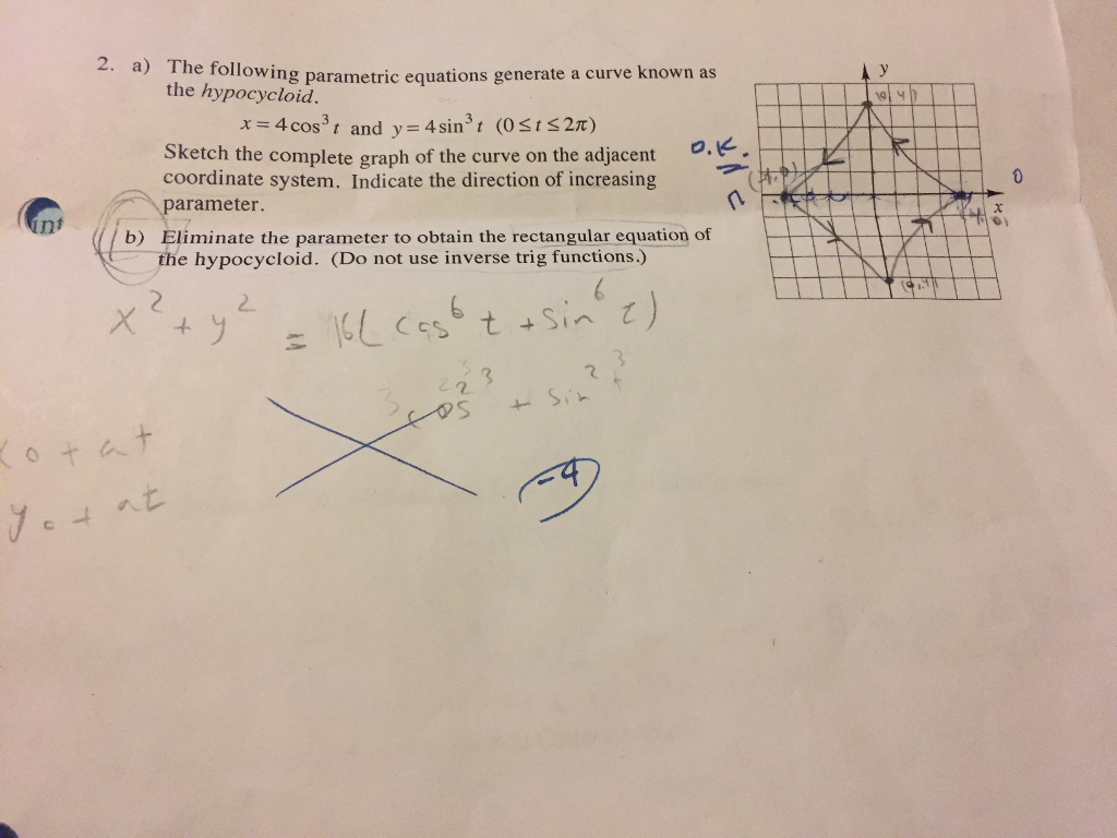 Solved: 2  A) The Following Parametric Equations Generate