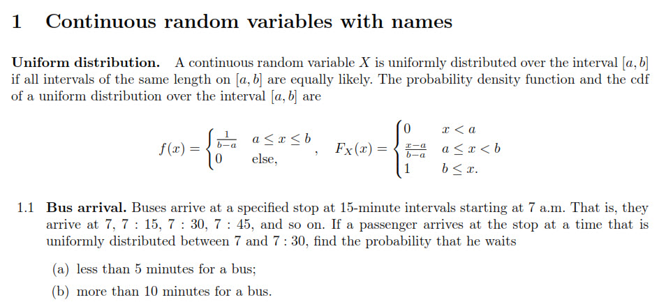 Solved 1 Continuous Random Variables With Names Uniform D