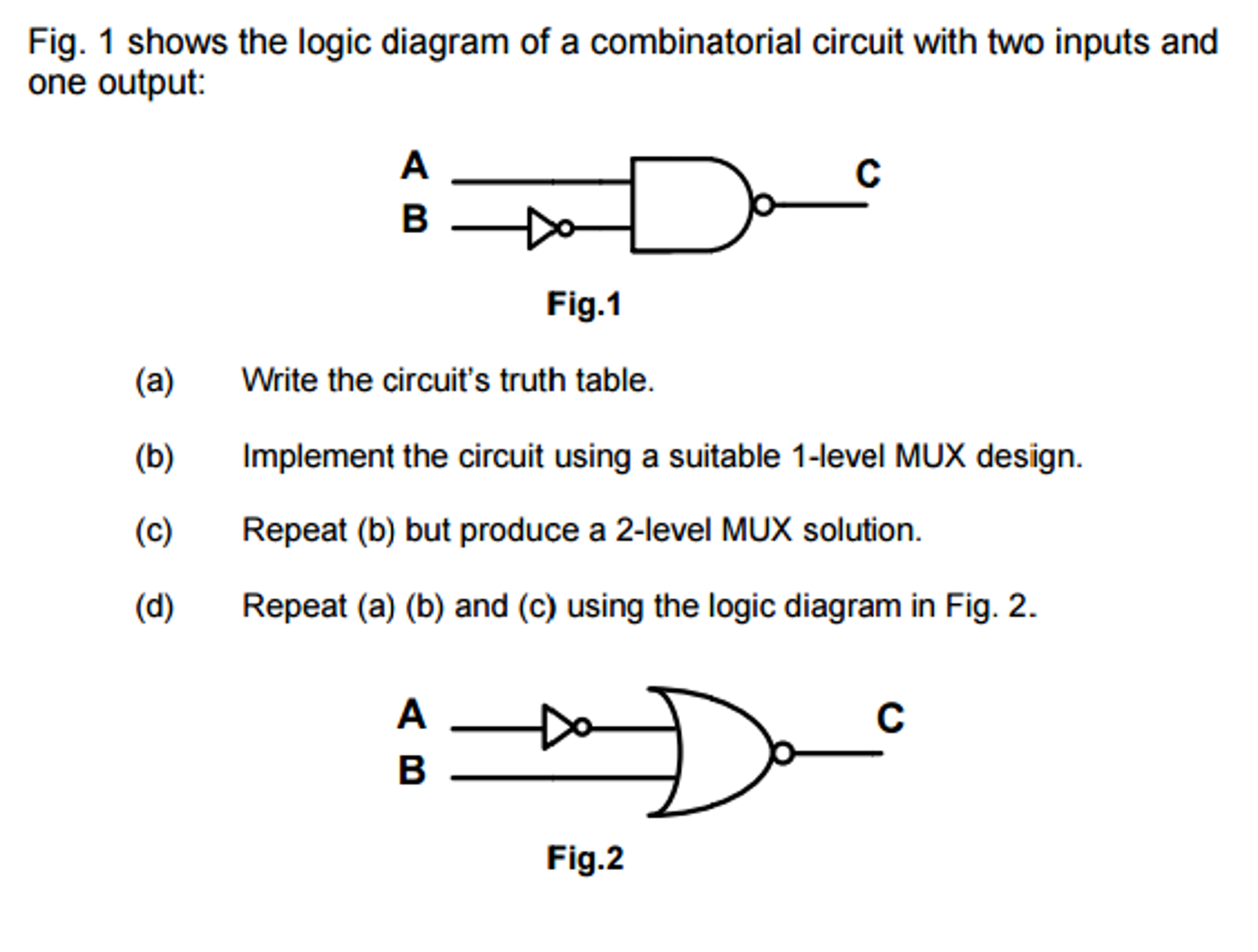 Solved Fig 1 Shows The Logic Diagram Of A Combinatorial Truth Table