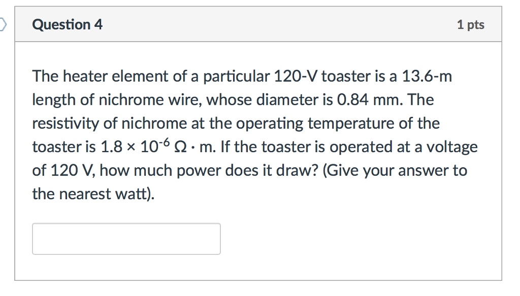 Solved: The Heater Element Of A Particular 120-V Toaster I ...