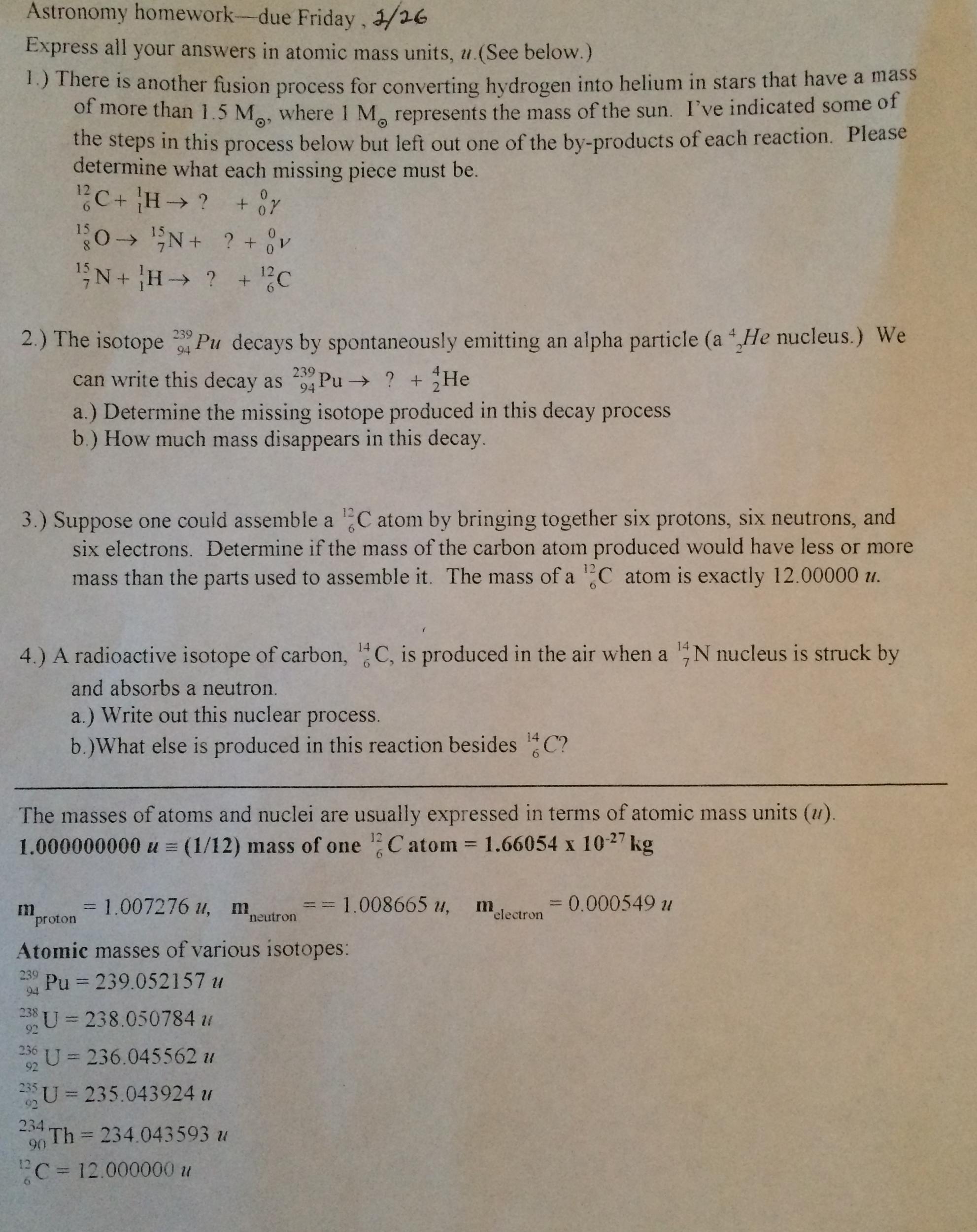 Astronomy homework help answers