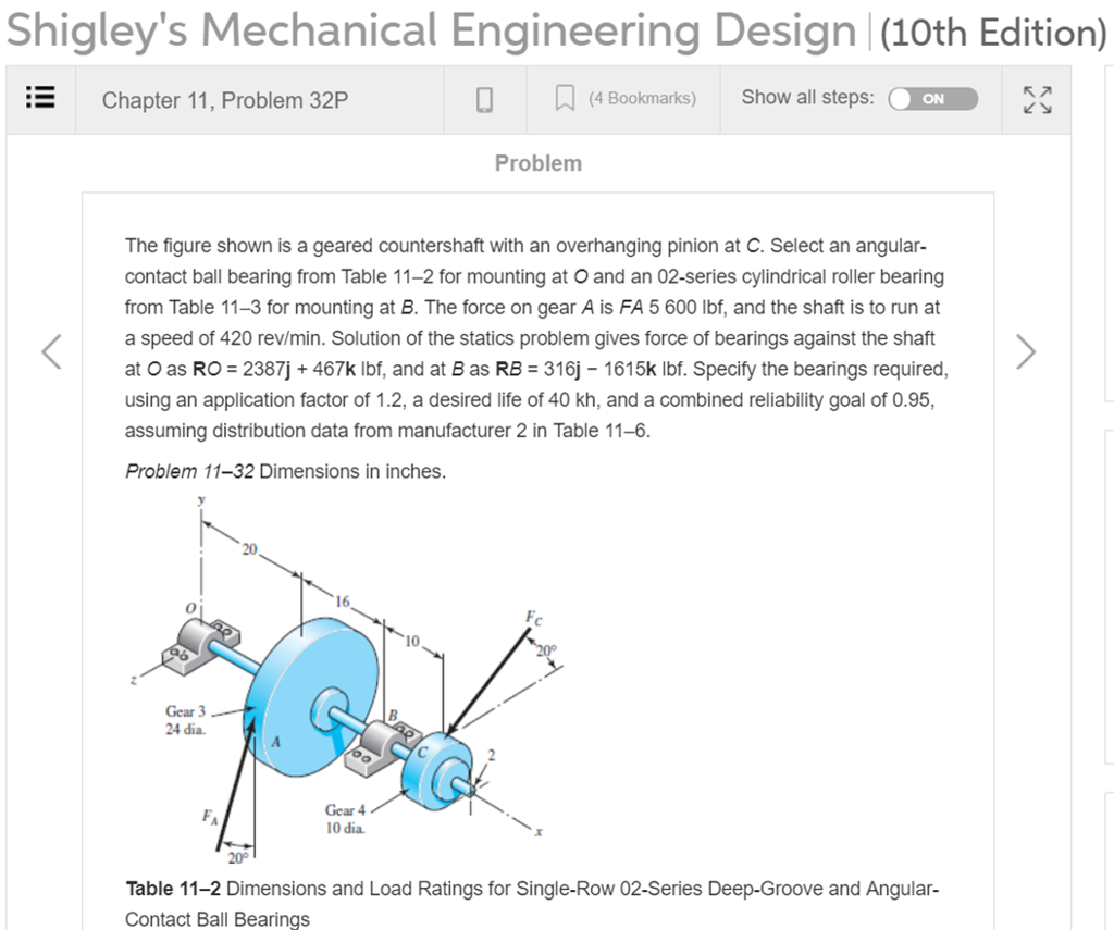 Solved Shigley S Mechanical Engineering Design 10th Edit Chegg Com