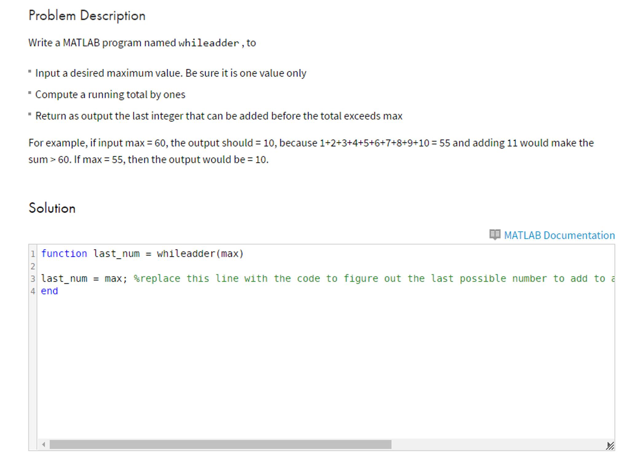 Solved: Write A MATLAB Program Named Whileadder, To Input