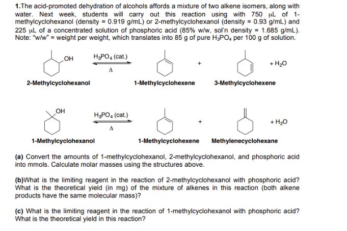 2 methylcyclohexanol and phosphoric acid