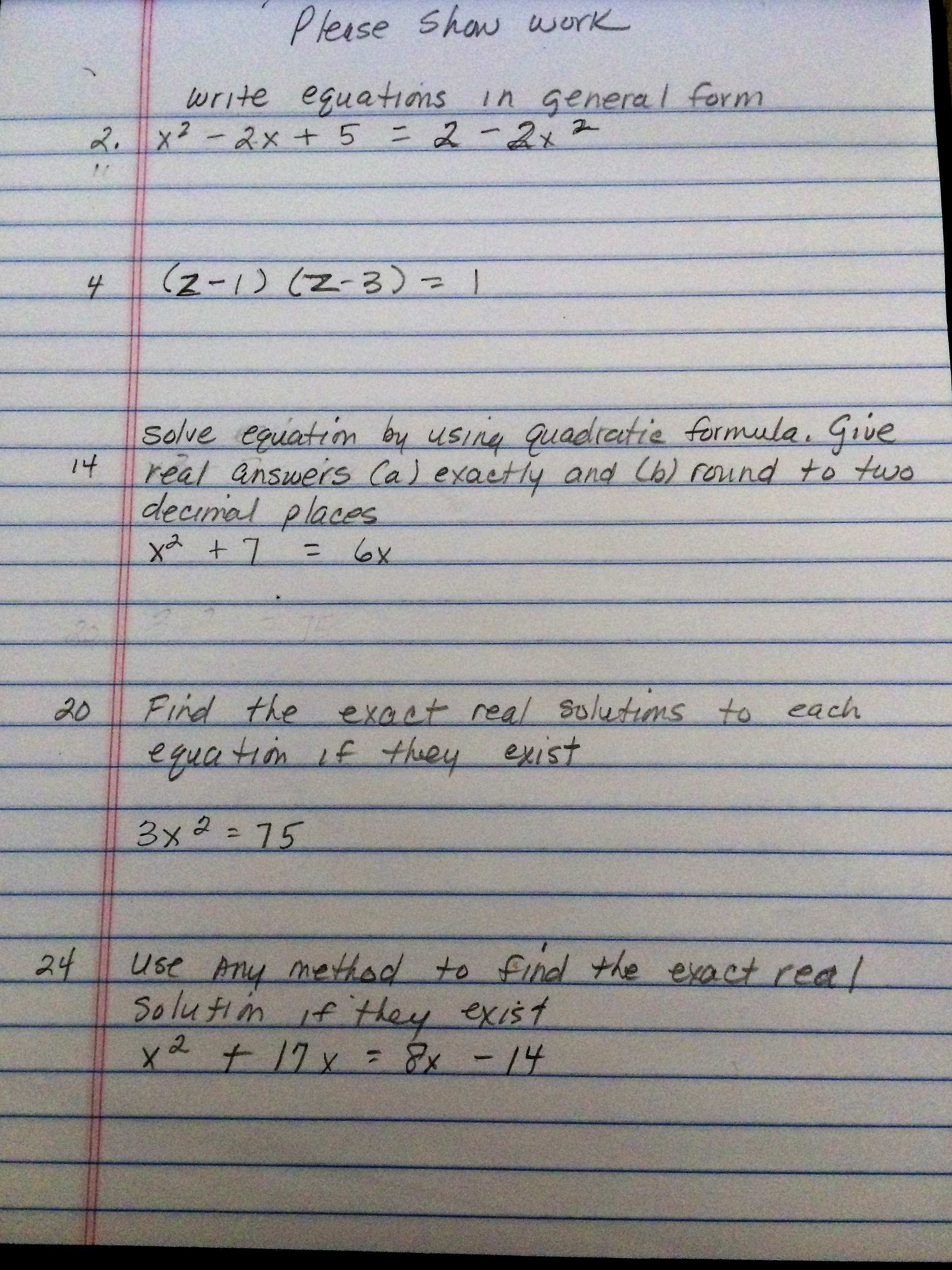 Solved: Write Equations In General Form X^2-2x+5 = 2-2X^2