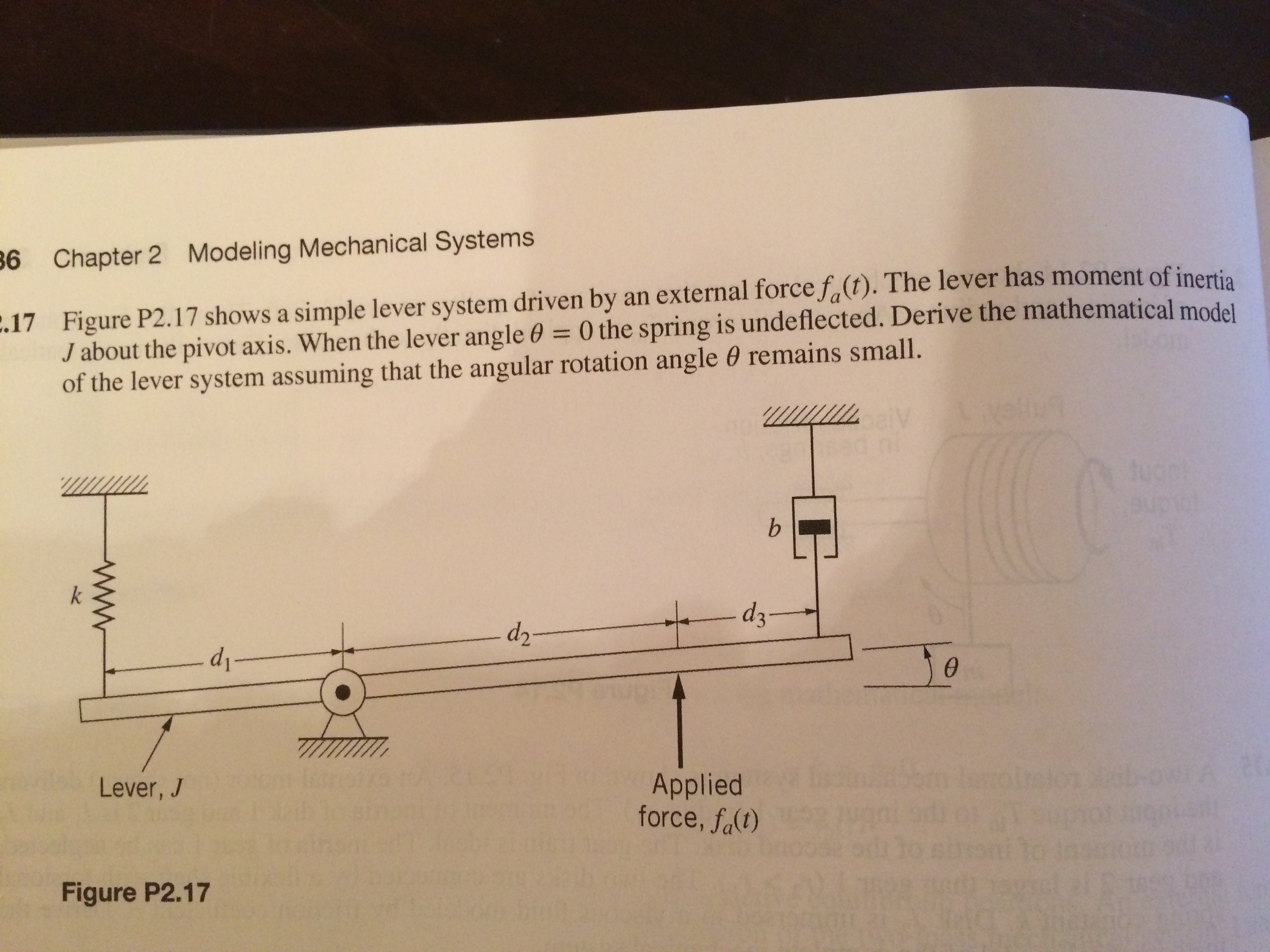 Question 6 Chapter 2 Modeling Mechanical Systems 17 Figure P217 Shows A Simple Lever System Driven By An