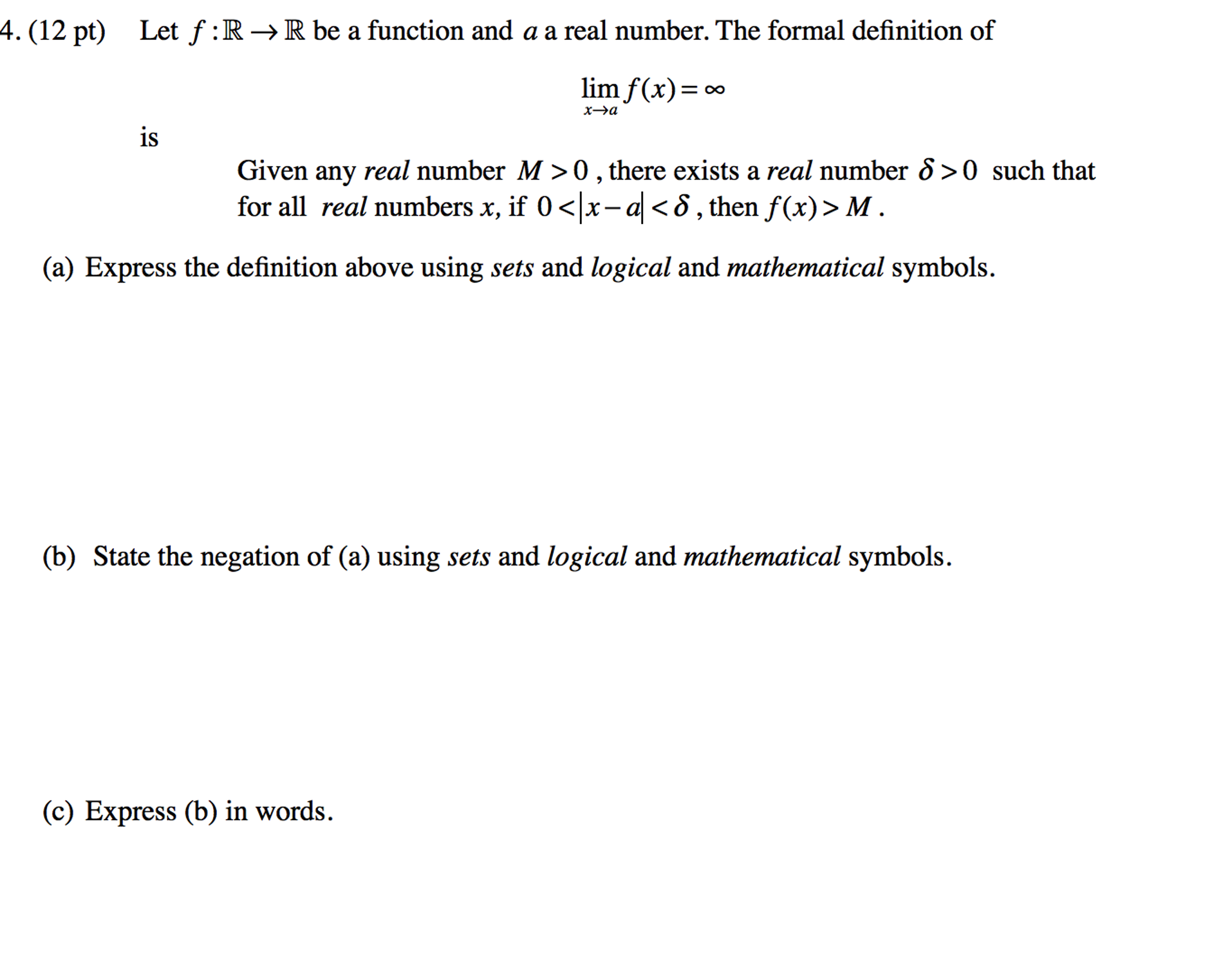 Solved Let F R Rightarrow R Be A Function And A A Real N