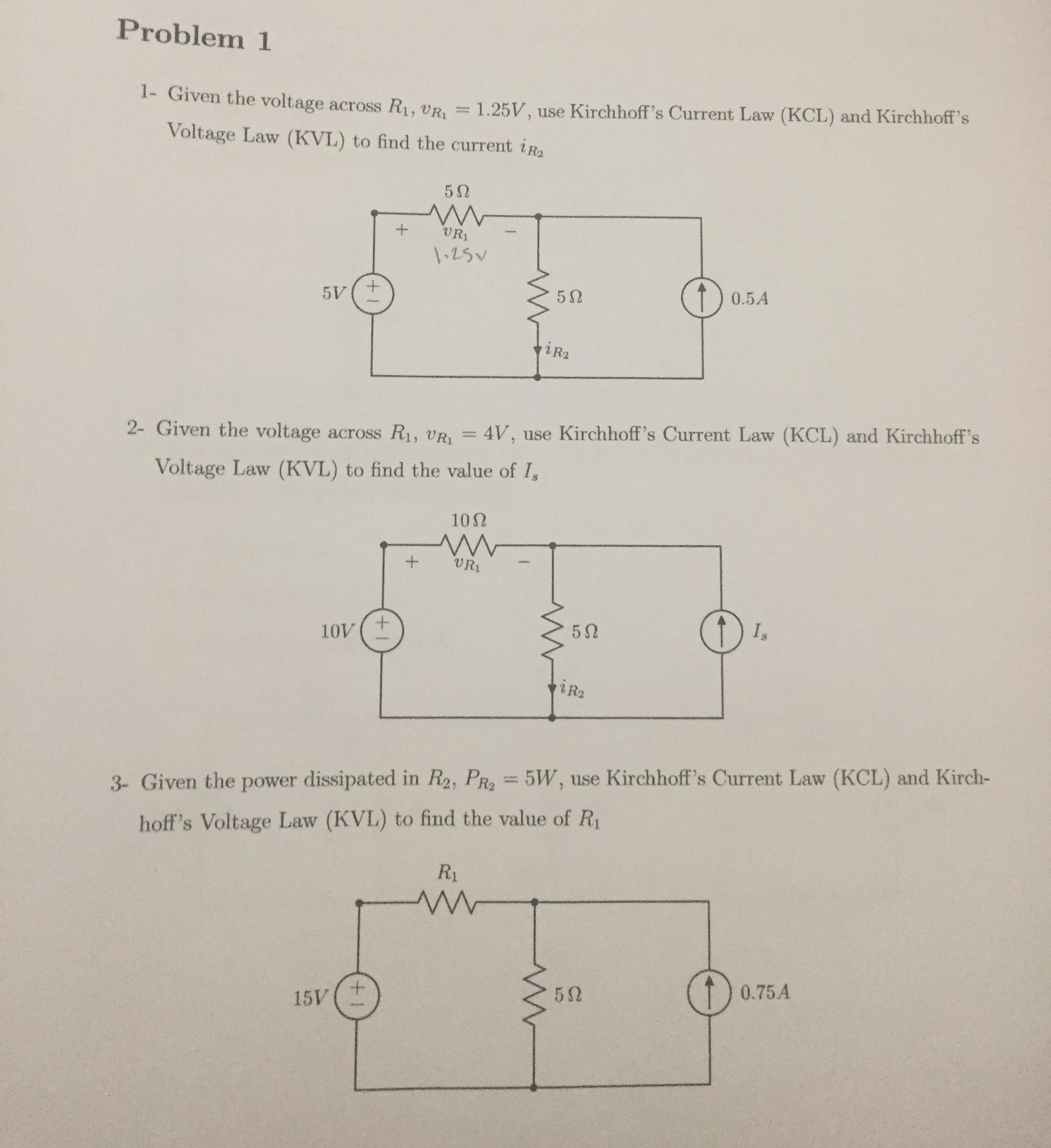 Solved Given The Voltage R 1 V 125v Use Kirchhof Current Law