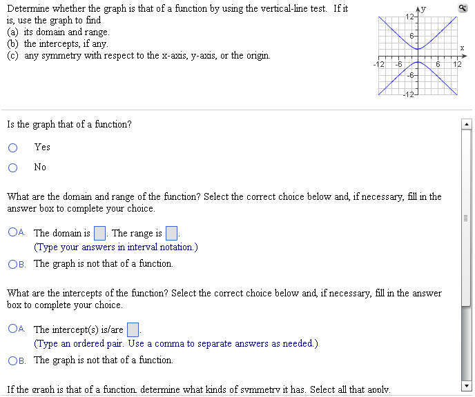 Image for If the graph is that of a function, determine what kinds of symmetry it has. Select all that apply. A. The gra