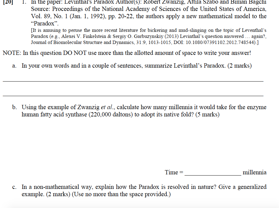 Solved Lis Paradox In The Paper Levinthal S Paradox Auth