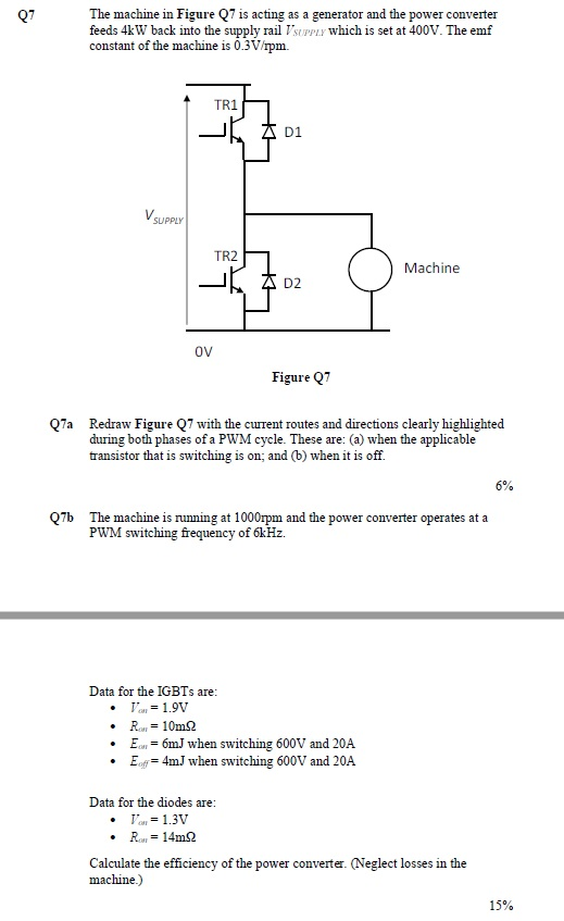 The machine in Figure Q7 is acting as a generator and the power converter feeds 4kW back into the supply rail TsUPPLy which is set at 400V. The emf constant of the machine is 0.3Vrpm. TR1 D1 SUPPLY TR2 Machine D2 oV Figure Q7 Q7a Redraw Figure Q7 with the current routes and directions clearly highlighted during both phases of a PWM cycle. These are: (a) when the applicable transistor that is switching is on; and (b) when it is off. 6% Q7b The machine is running at 1000rpm and the power converter operates at a PWM switching frequency of 6kHz. Data for the IGBTs are 6mJ when switching 600V and 20A of 4mJ when switching 600V and 20A Data for the diodes are 1.3V R 14m2 Calculate the efficiency of the power converter (Neglect losses in the machine.) 15%