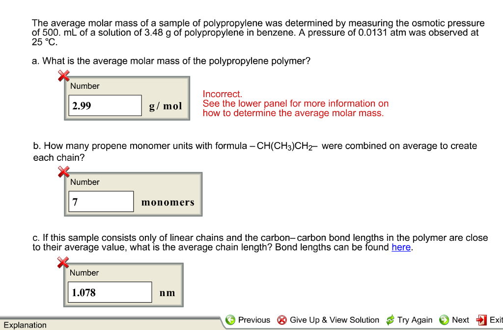 Solved: The Average Molar Mass Of A Sample Of Polypropylen