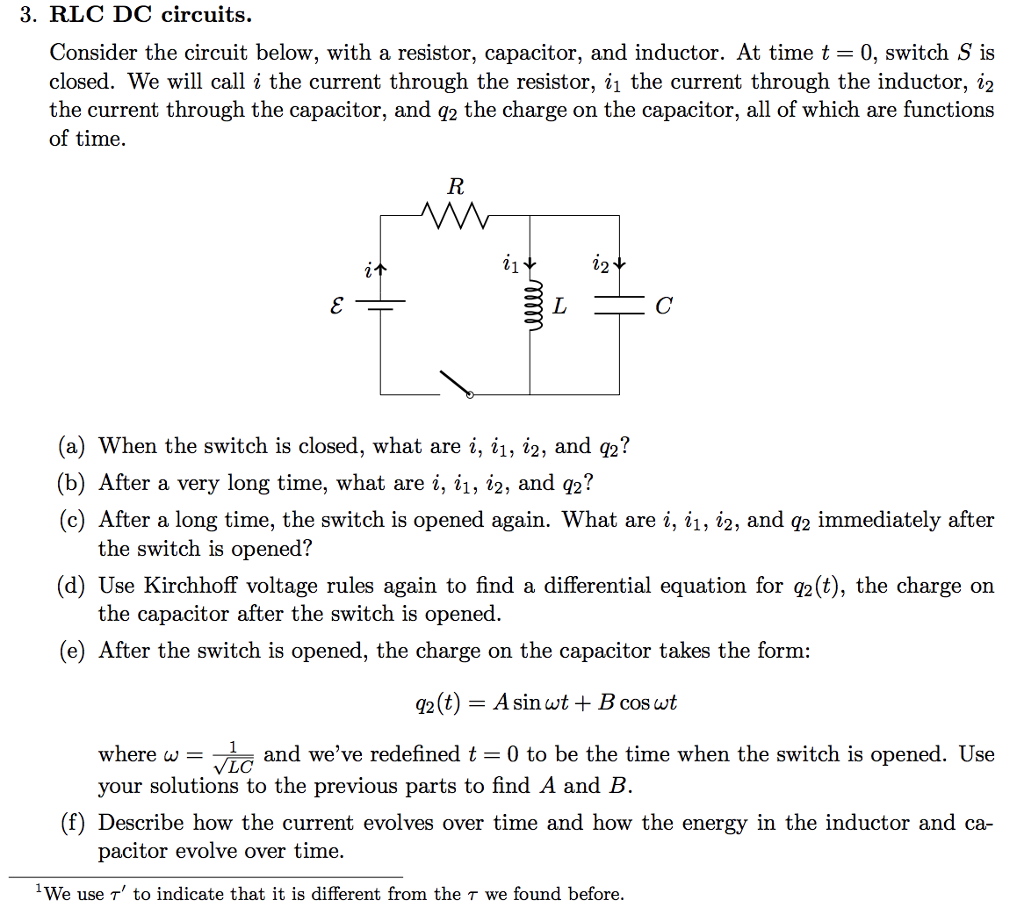Solved Consider The Circuit Below With A Resistor Capac Use Of Inductor In Rlc Dc Circuits Capacitor