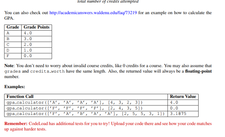 Part II Weighted GPA Calculator 20 Points Write A Function Gpacalculator That Takes Two Arguments In This Order 1 Grades List Of Strings