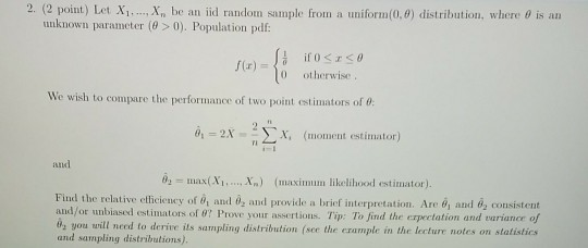 Solved: 2  (2 Point) Let Xi Xn Be An Iid Randon Sample Fro